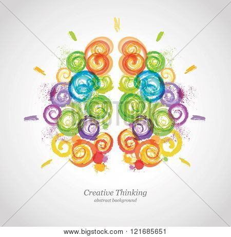 Creative Human Brain in the Work. Conceptual Vector Background for Business and Education.