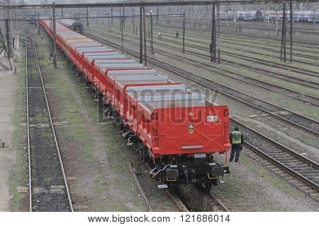 Bucharest Romania March 13 2016: DB Schenker freight train is seen the switch yard of Gara de Nord main railway station.