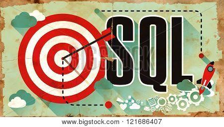 SQL Concept. Poster in Flat Design.