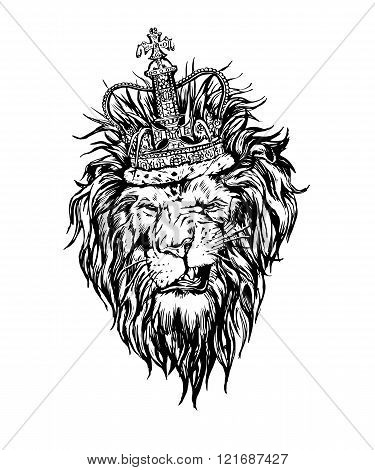 Hand drawn realistic lion in crown character.