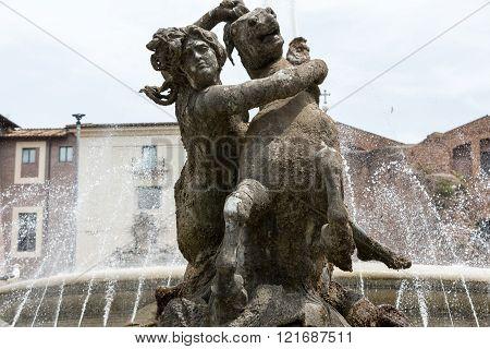 The Fountain of the Naiads on Piazza della Repubblica in Rome. Italy poster