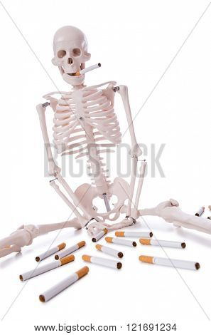Antismoking concept with cigarettes and skull