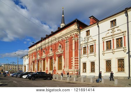 Moscow, Russia - March 14, 2016. Kazansky railway station on a Komsomolskaya Square