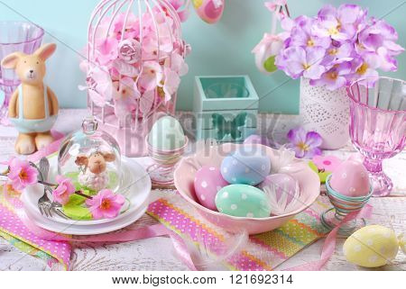 Easter Table Decoration In Pastel Colors