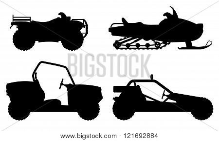 Set Icons Atv Automobile Off Roads Black Outline Silhouette Vector Illustration
