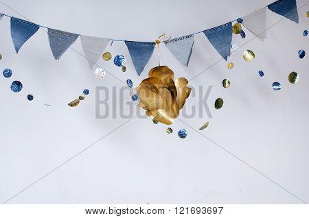 Denim Flag Garland With Golden Fish