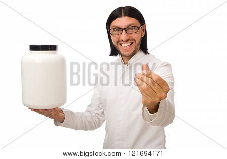 Funny doctor with protein jars isolated on white