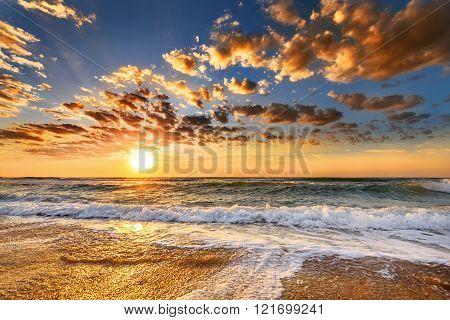 Orange Mystic Sunset On The Sea.