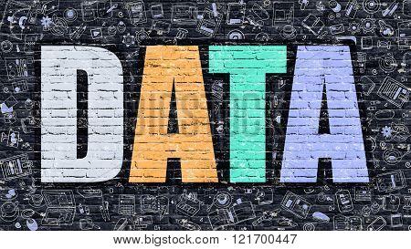 Data on Dark Brick Wall.