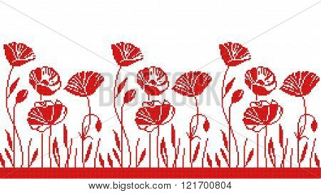 Red cross of poppies on a white background