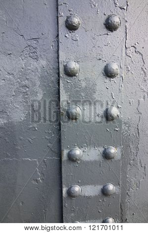 Grunge Backgroundwith Zinc Painted Metal And Rivets