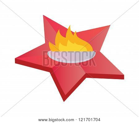 Eternal flame symbolizing victory in Great Patriotic War. Everlasting memory star fire flat vector i