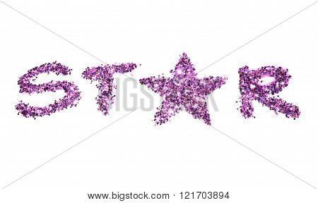 Word Star of purple glitter sparkle on white background