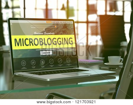 Laptop Screen with Microblogging Concept.