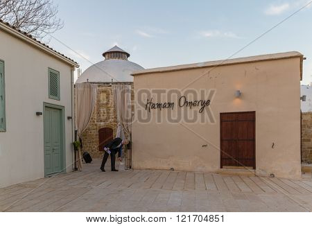 Nicosia Cyprus - 26 February 2016: Hamam Omerye in old Nicosia. The stunning 16th-century Omeriye Hamam Turkish steam baths have recently reopened. The tastefully restored building sports a luxurious Ottoman-inspired design.