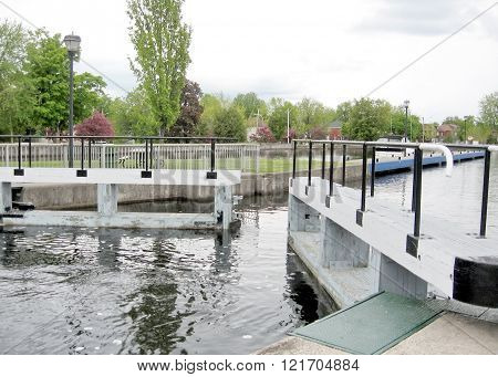 The Lock on the Rideau Canal in Smiths Falls in Ontario Canada