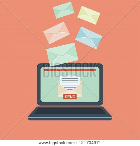 Email illustration. Sending or receiving email concept illustration.