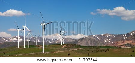 Panoramic View On Wind Farm