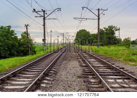 Wide View On A Railroad Runs To Horizint