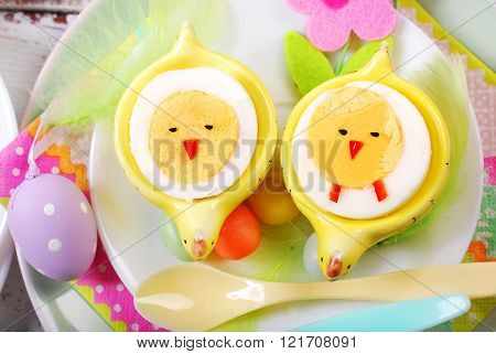 Easter Breakfast For Kids With Boiled Eggs As Chicks