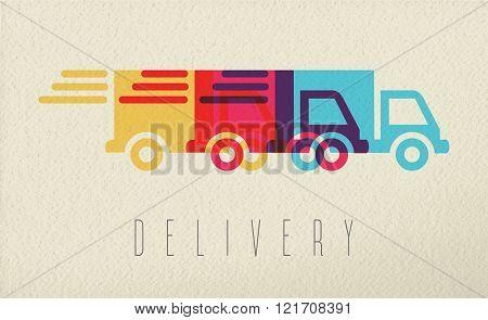 Delivery Service Truck Icon Concept Color Design