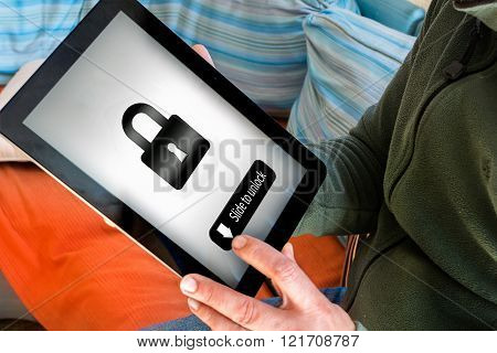 Man Holding Pad With Lock Icon