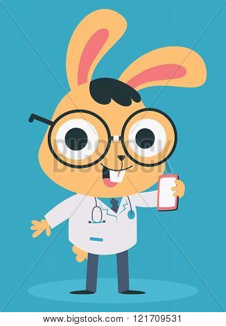 Nerd Doctor Bunny Talking On The Phone