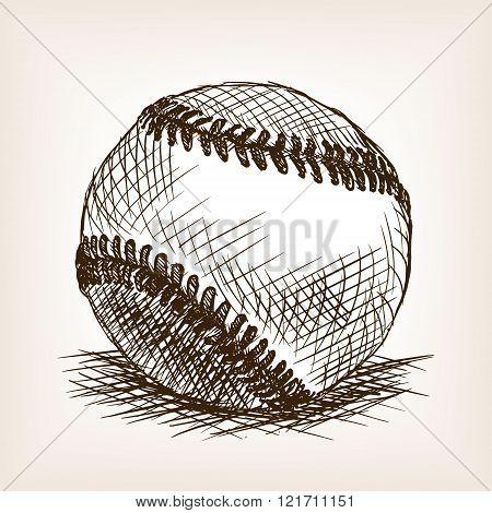 Baseball ball hand drawn sketch style vector