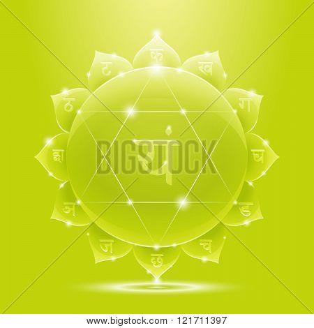 Green glossy anahata chakra banner
