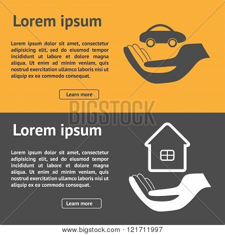 Insurance horizontal banner with property and car vector illustration. Can be used for web sites app flyers brochures etc.