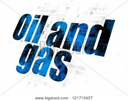 Manufacuring concept: Oil and Gas on Digital background