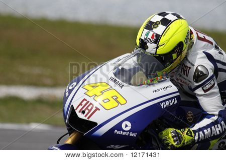 SEPANG, MALAYSIA – FEBRUARY 7: MotoGP rider Valentino Rossi rides a practice run for the Sepang International Circuit at the MotoGP winter testing sessions on February 7, 2009 in Sepang, Malaysia.