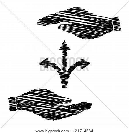 Three-way direction arrow sign