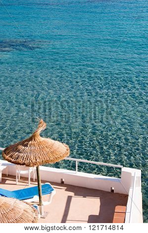 Turquoise water with terrace Sant Elm Mallorca