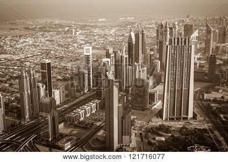 Dubai Downtown Morning Scene. Top View