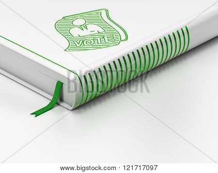 Political concept: closed book, Ballot on white background