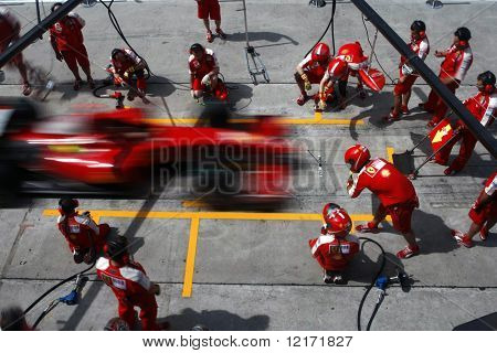 SEPANG, MALAYSIA - APRIL 4: Scuderia Ferrari Marlboro crews does pit-stop practice at the 2009 F1 Petronas Malaysian Grand Prix April 4, 2009 in Sepang Malaysia.