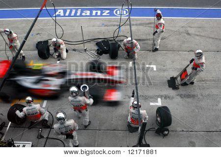 SEPANG, MALAYSIA - APRIL 5: Vodafone McLaren Mercedes pit-stop at the final race of the 2009 F1 Petronas Malaysian Grand Prix. April 5, 2009 in Sepang Malaysia.