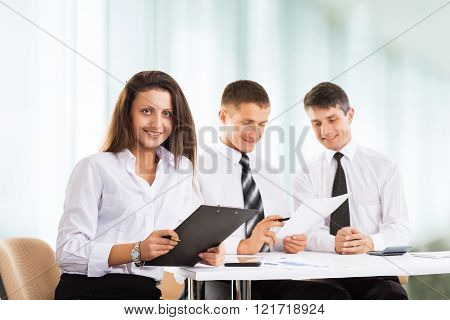friendly business team working with documents