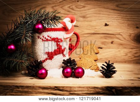 Christmas mug with Christmas decorations