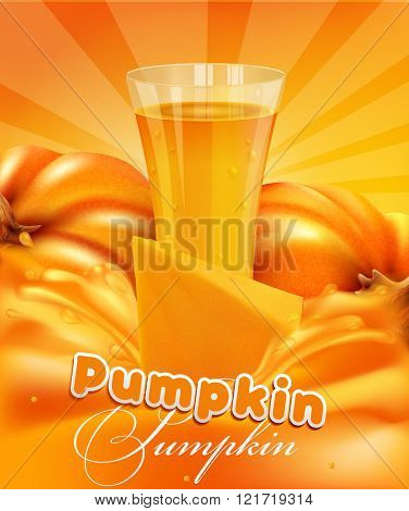 vector background with a pumpkin and a glass of pumpkin juice and a splash of juice
