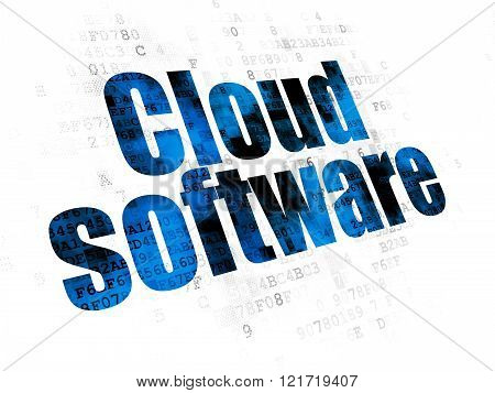 Cloud computing concept: Cloud Software on Digital background