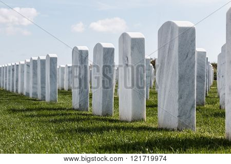 Rows of Headstones at Miramar National Cemetery