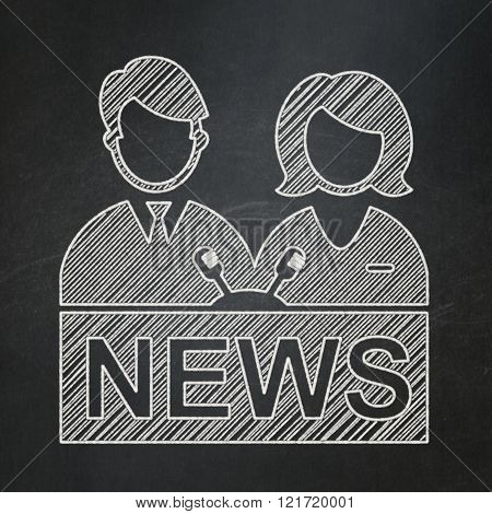 News concept: Anchorman on chalkboard background