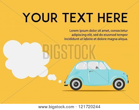 Stylish Italian car with exhaust on the yellow background. Copy space. Cute flat vector illustration