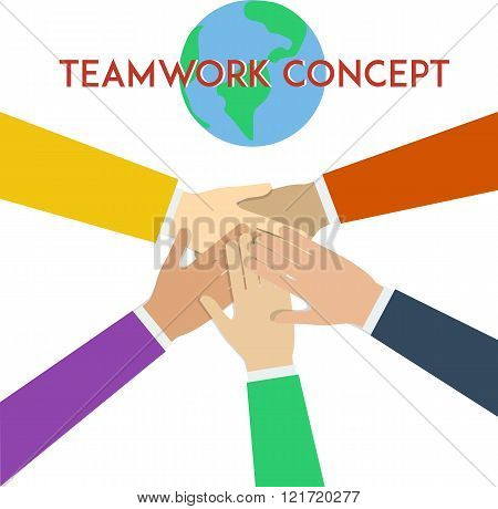 Teamwork concept. Minimal flat vector illustration.