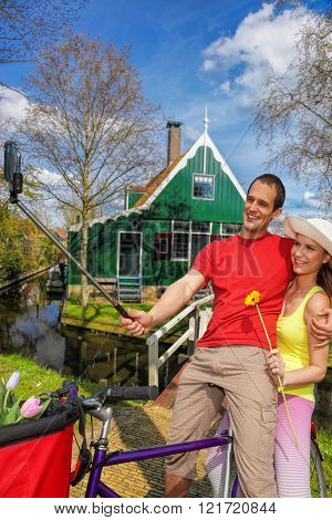 Selfie Against Old House In Zaanse Schans, Holland