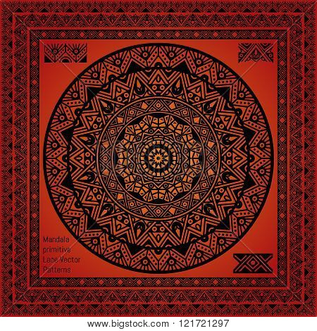 Mandala Hindu symbol and Lace pattern frame
