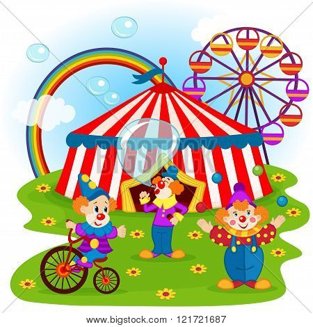 funny clowns and circus