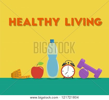 Measurement tape, bottle of water, dumbbells, clock and apple on floor. Set of fitness equipment. Mi